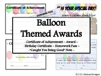 Balloon Awards Set