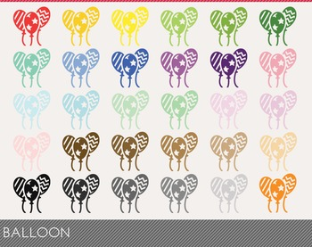 Balloon Digital Clipart, Balloon Graphics, Balloon PNG, Ra