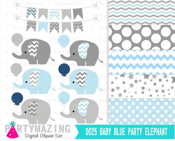 Balloon Elephant Clip Art Set and Digital Paper Set D025