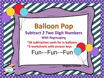 Subtract 2 Two Digit Numbers with Regrouping---Balloon Pop