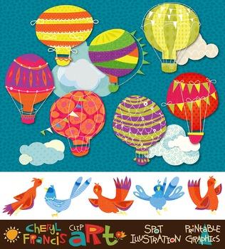 Balloons N Birds clip art collection