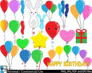 Balloons Party - Clip Art Digital Files Personal Commercia