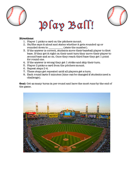 Ballpark Estimations Lesson Plan and Game