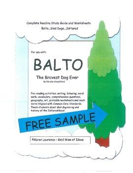 Balto - Bravest Dog Ever  - Iditarod - Novel Study Guide FREE