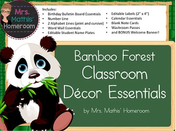 Bamboo Forest (Panda Theme) Classroom Decor Essentials Pack