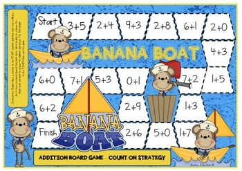 Banana Boat Addition Count On 1,2,3 Strategy Board Game
