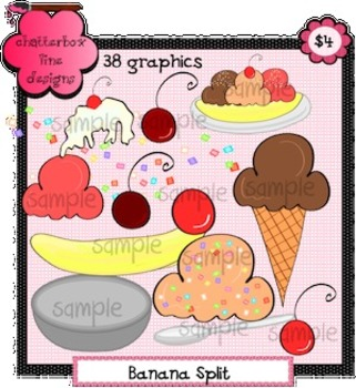 Banana Splits and Ice Cream Cones Clip Art