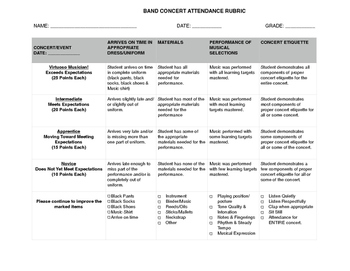 Band Concert Attendance Rubric