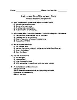 Band Instrument Care Worksheets