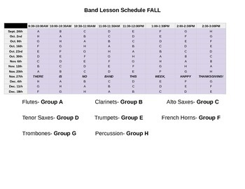 Band Lesson Schedule