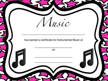 Instrumental Music Certificates