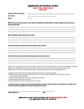 Band Section Leader Application