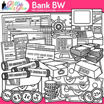 Banking Money Clip Art {Counting, Sorting, Place Value, &