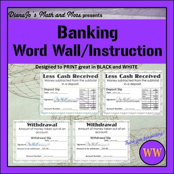 Word Wall Banking POSTER Set