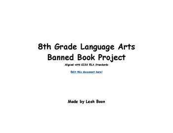 Banned Book Project with CCSS Rubric 8th grade English Lan