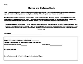 Banned/ Challenged Books Activity