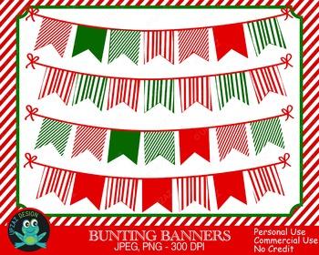 Christmas Bunting Banners {Upzaz Digital Clipart}