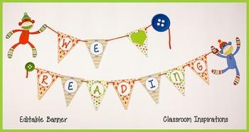 Banner – Editable – Coordinates with Sock Monkey Classroom Theme