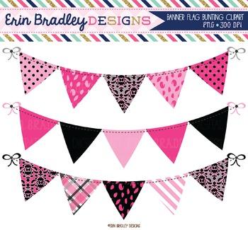 Banner Flag Clipart - Hot Pink & Black