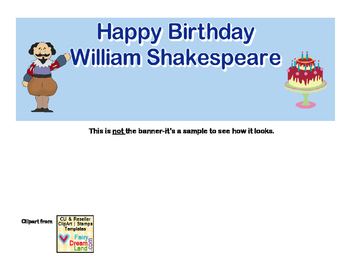 Banner-Happy Birthday William Shakespeare