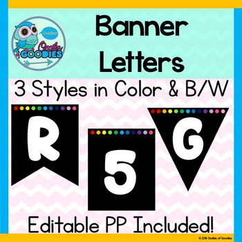 Banner Letters & Numbers in Color and Black/White