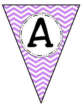 Banner Letters Pennants Purple Chevron