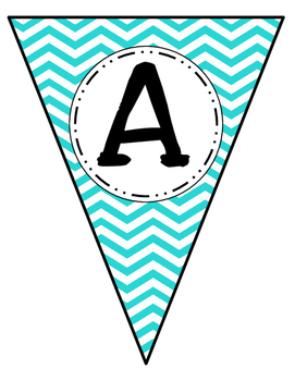 Banner Letters Pennants Teal Chevron