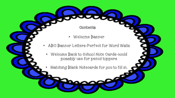 Banner Themed Welcome, Letters, and Notecards