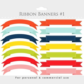 Banner clipart, stitched ribbon flags, digital ribbon clip