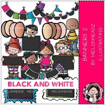 Melonheadz: Banners clip art Part 2 - BLACK AND WHITE