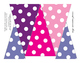 Banners Big and Small: Pennants pink, orange, yellow, purp