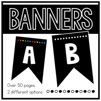 Bulletin Board Letters ~ Bunting in Colored Dots or Black