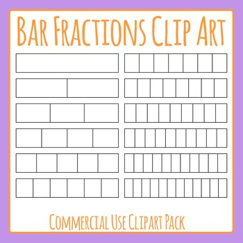 Bar Fractions or Strip Fractions Clip Art Set for Commercial Use