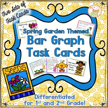 Bar Graph Task Cards:  Two Sets of  Spring Garden Themed T