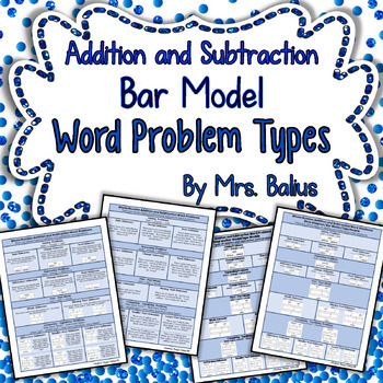 Bar Model Word Problem Types Addition and Subtraction