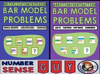 Bar model bundle (Multiplication, Division, Addition and S