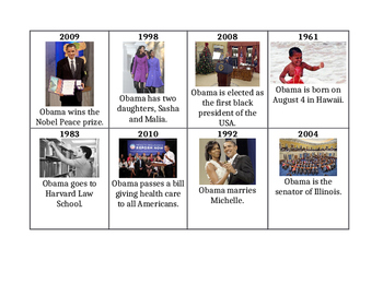 Cut Out and Unscramble Barack Obama Timeline w/ Pics