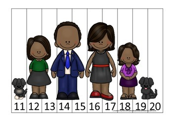 Barack Obama themed Number Sequence Puzzle 11-20 preschool