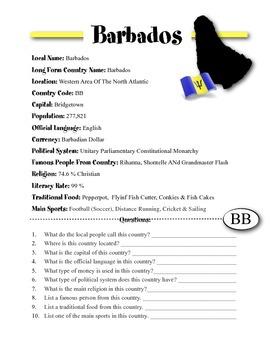 Barbados Information & Worksheet