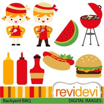 Barbecue clip art (backyard BBQ, summer, burger, kids) clipart