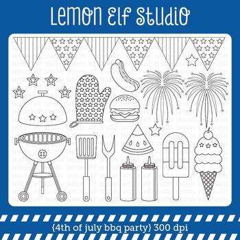 4th of July Bbq Party-Digital Stamp (LES.DS40)