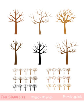 Bare trees clipart, No leaves tree clip art, Winter tree,