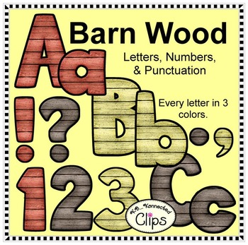 Barn Wood Alphabet and Numbers 2 - Clip Art