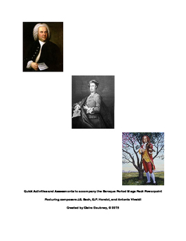 Baroque Period Composer Worksheets and Assessments