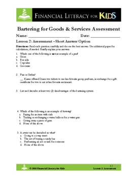 Lesson 2: Bartering for Goods & Services Assessment