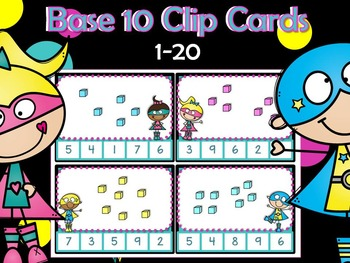 Base 10 Block Clip Cards 1-20