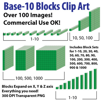 Base 10 Blocks (Green) - Clip Art - Commercial OK! {Z is f