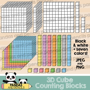 Counting Blocks 3D Cubes Clip Art: 1 to 1,000