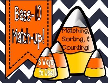 Base-10 FALL theme Matching Game (Printable)