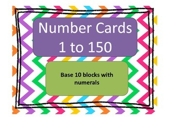 Base 10 Number Cards with numerals 1 to 150 (MABs)